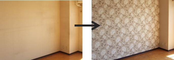輸入壁紙施工例:寝室の1面をアクセントクロスにしました。
